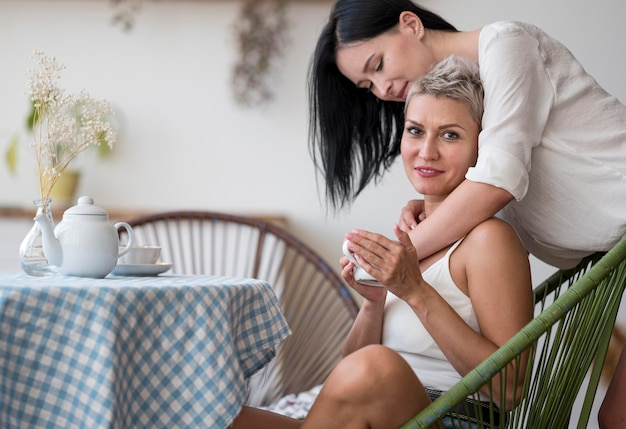 Lesbian couple enjoying cup of coffee