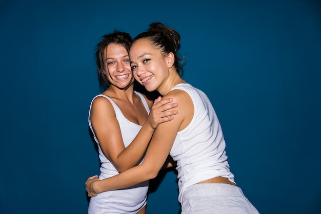 Lesbian couple at home