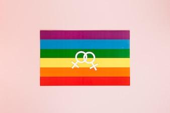 レズビアンカップルの虹色の旗のアイコン