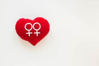 赤いハートのレズビアンカップルのアイコン