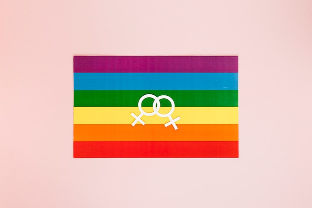 Lesbian couple icon on rainbow flag