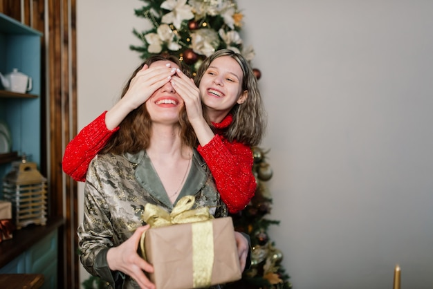 Лесбийская пара вместе в помещении весело общается, готовясь к празднованию рождества.