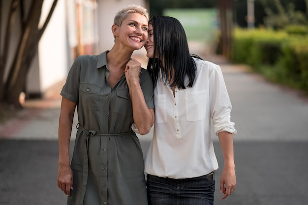 Lesbian couple walking