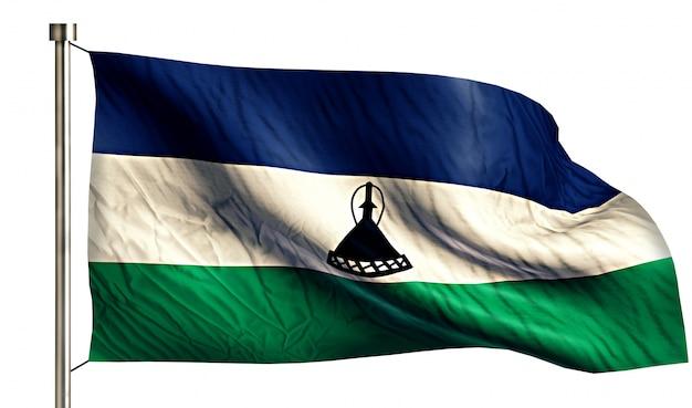 Lesotho national flag isolated 3d white background