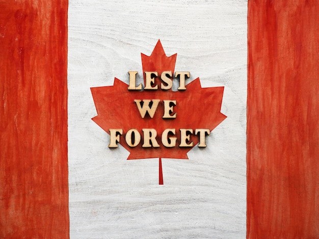 Lest we forget. congratulatory phrase. beautiful greeting card. close-up, view from above