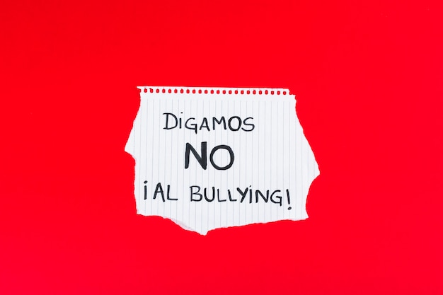 Испанский let's say no to bullying slogan