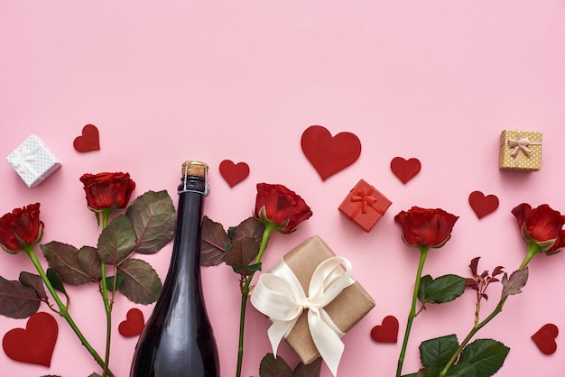 Let us celebrate set of red roses champagne gift boxes and hearts