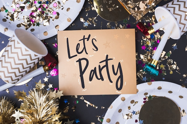 Lets party brush stroke handwriting on greeting card with party cup