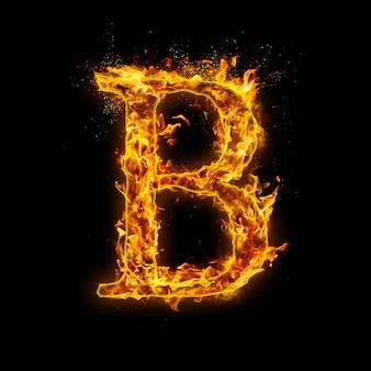 Письмо а. огонь пламя на черном, реалистичный эффект огня с искрами.