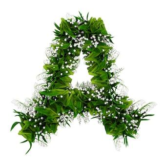 白で隔離された花と草で作られた文字a。 3dイラスト。