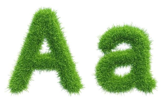 白いスペースに分離された緑の新鮮な草の文字a。