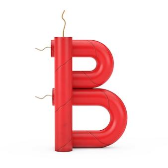 Буква b как коллекция алфавита динамитных палочек на белом фоне. 3d рендеринг