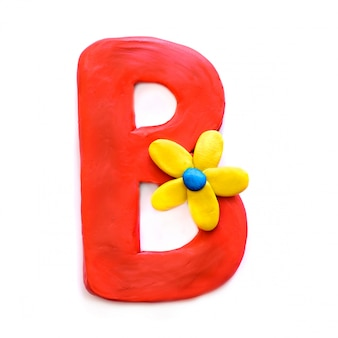 The letter b of the english alphabet from plasticine