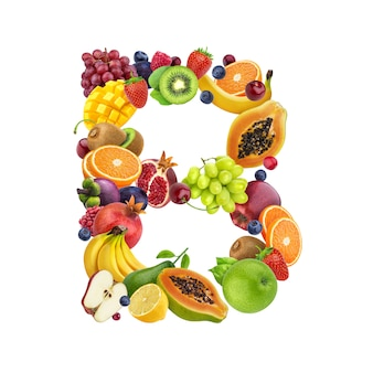 Letter b made of different fruits and berries