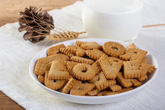 Letter biscuit cracker and milk