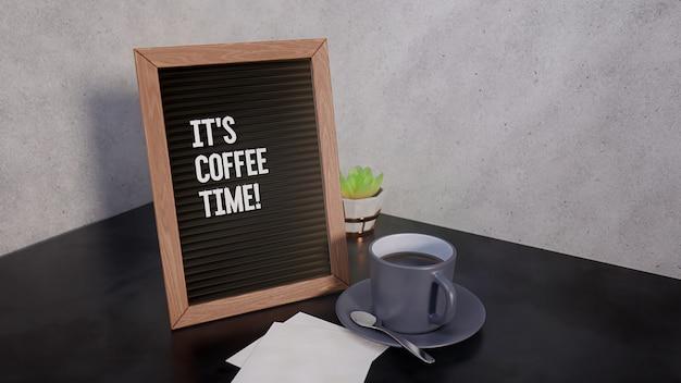 Доска для писем с текстовым сообщением. пора кофе! внутри современного дома, на темном мраморном столе, рядом с кофейной кружкой, 3d визуализация