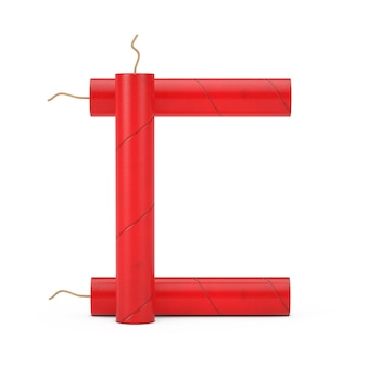 Буква c как коллекция алфавита динамитных палочек на белом фоне. 3d рендеринг