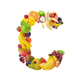 Letter c made of different fruits and berries