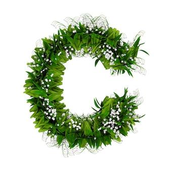 白で隔離された花と草で作られた文字c。 3dイラスト。