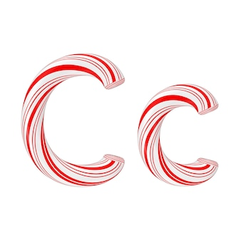 文字cミントキャンディケインアルファベットコレクション白地に赤いクリスマスカラーのストライプ。 3dレンダリング