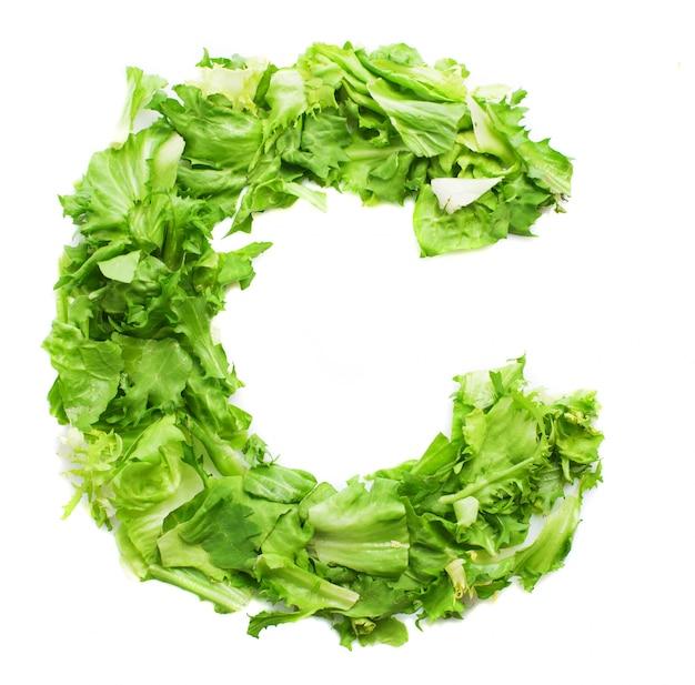 Letter c with fresh lettuce