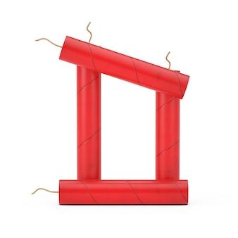 Буква d как коллекция алфавита динамитных палочек на белом фоне. 3d рендеринг