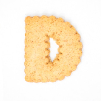 Letter d made of cracker cookie isolated on white background