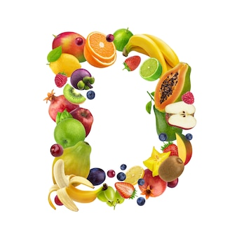 Letter d made of different fruits and berries