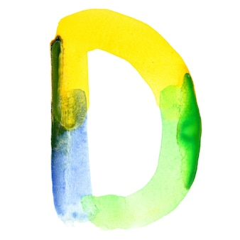 文字d-鮮やかな水彩アルファベット。色はブラジルの国旗に似ています