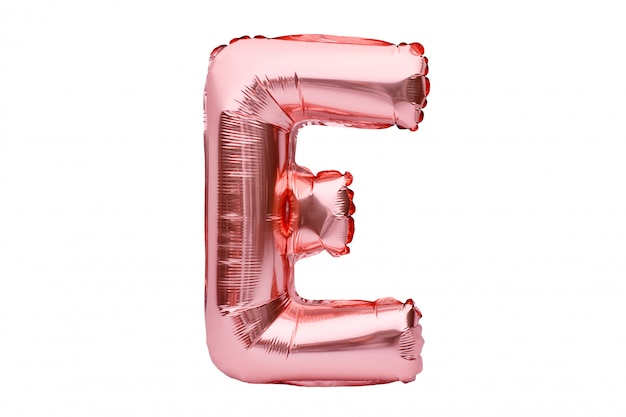 Letter e made of rose golden inflatable helium balloon isolated on white. gold pink foil balloon font part of full alphabet set of upper case letters.