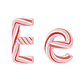 文字eミントキャンディケインアルファベットコレクション白地に赤いクリスマスカラーのストライプ。 3dレンダリング