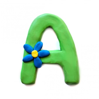 The letter a of the english alphabet from plasticine