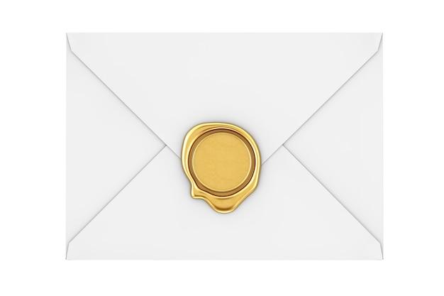 白い背景の上の黄金のワックスシールと手紙の封筒。 3dレンダリング