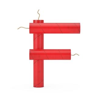 Буква f как коллекция алфавита динамитных палочек на белом фоне. 3d рендеринг