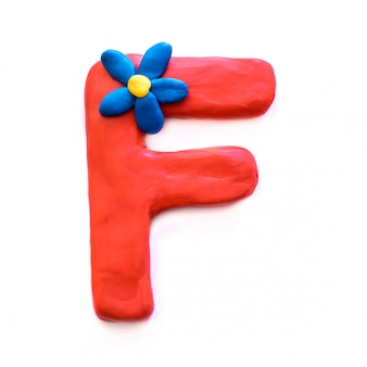 The letter f of the english alphabet from plasticine
