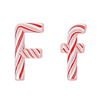 文字fミントキャンディケインアルファベットコレクション白地に赤いクリスマスカラーのストライプ。 3dレンダリング