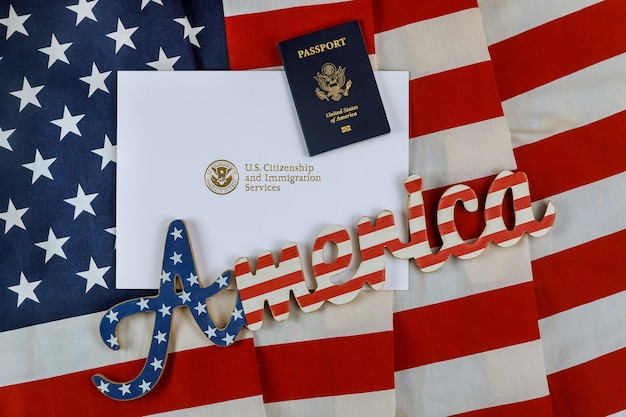 Letter from u.s. citizenship and immigration services of naturalization with u.s. flag