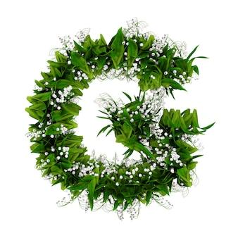 白で隔離された花と草で作られた文字g。 3dイラスト。
