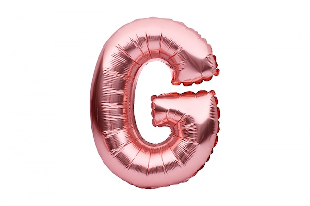 Letter g made of rose golden inflatable helium balloon isolated on white. gold pink foil balloon font part of full alphabet set of upper case letters.