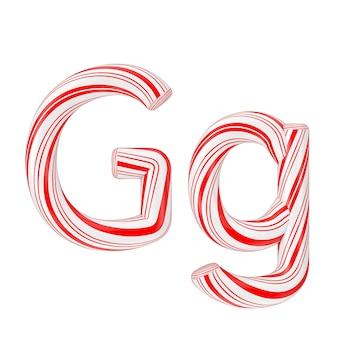文字gミントキャンディケインアルファベットコレクション白地に赤いクリスマスカラーのストライプ。 3dレンダリング