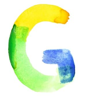 文字g-鮮やかな水彩アルファベット。色はブラジルの国旗に似ています