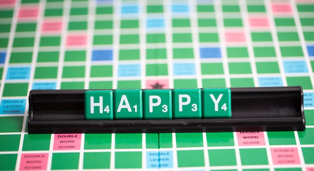 Letter green scrabble is spelling word happy on the rack