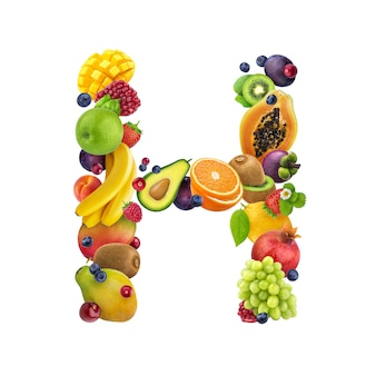 Letter - h made of different fruits and berries