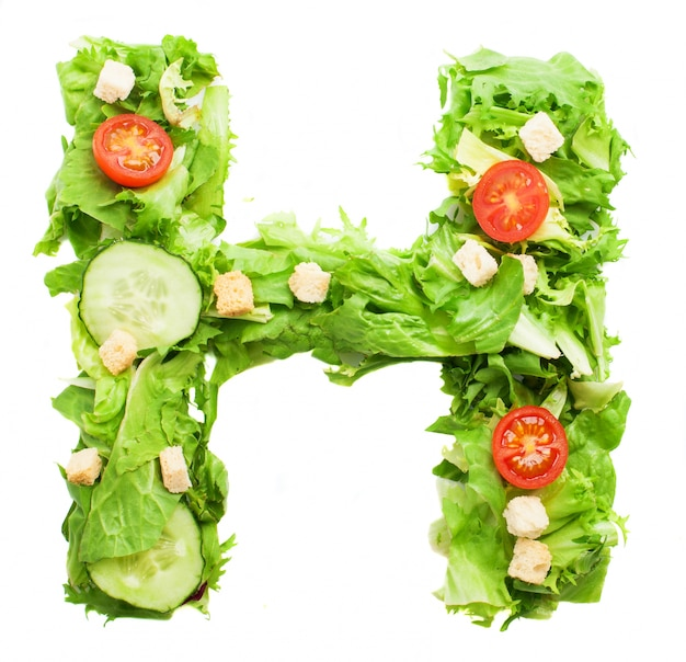 Letter h with fresh tomatoes
