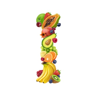 Letter i made of different fruits and berries