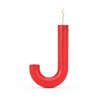 Буква j как коллекция алфавита палочки динамита на белом фоне. 3d рендеринг