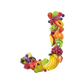 Letter j made of different fruits and berries