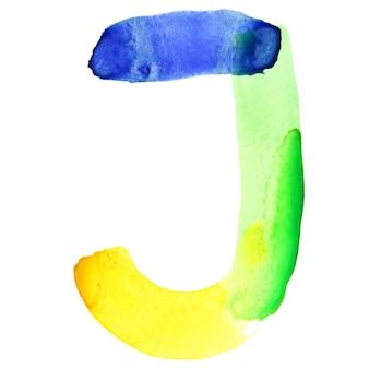 Буква j - яркий акварельный алфавит. цвета напоминают флаг бразилии