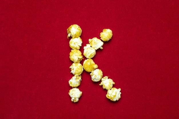 Letter k from cinema popcorn