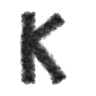 Letter k made from black clouds or smoke on a white background with copy space, not render.